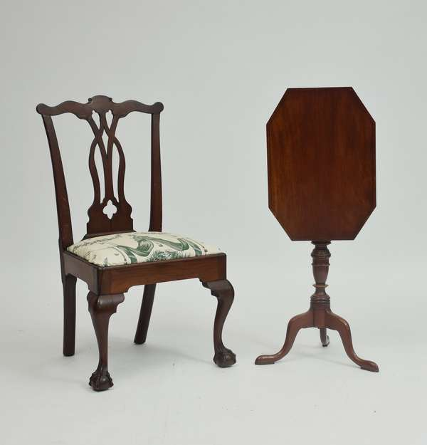 18th C. Chippendale mahogany Philadelphia claw & ball foot chair with new England Queen Anne tilt top candlestand, line inlaid top, 2 pcs