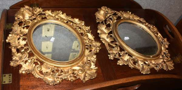 Good pair of 19th C. carved & gilt wall mirrors, 18