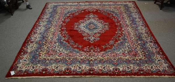 Room size Oriental rug, red ground, 13'9