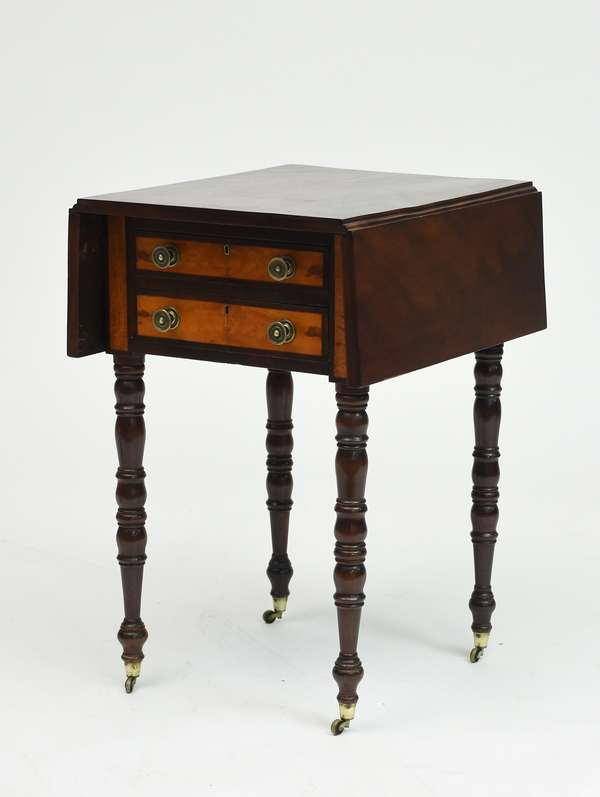 Federal two drawer birch drop leaf stand with satinwood drawer fronts, ca.1820, 27