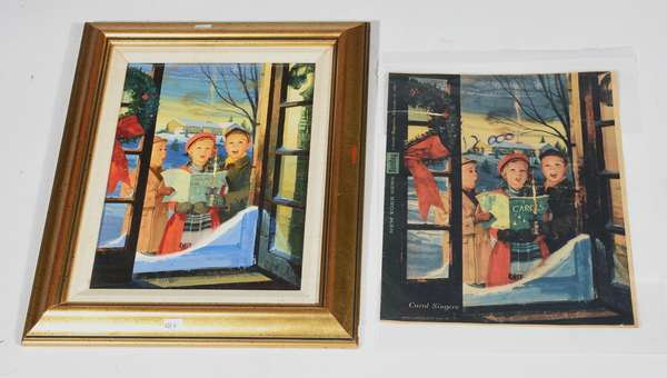 Oil on board, Illustration The Carol Singers for the N.Y. Sunday News 1960, 12