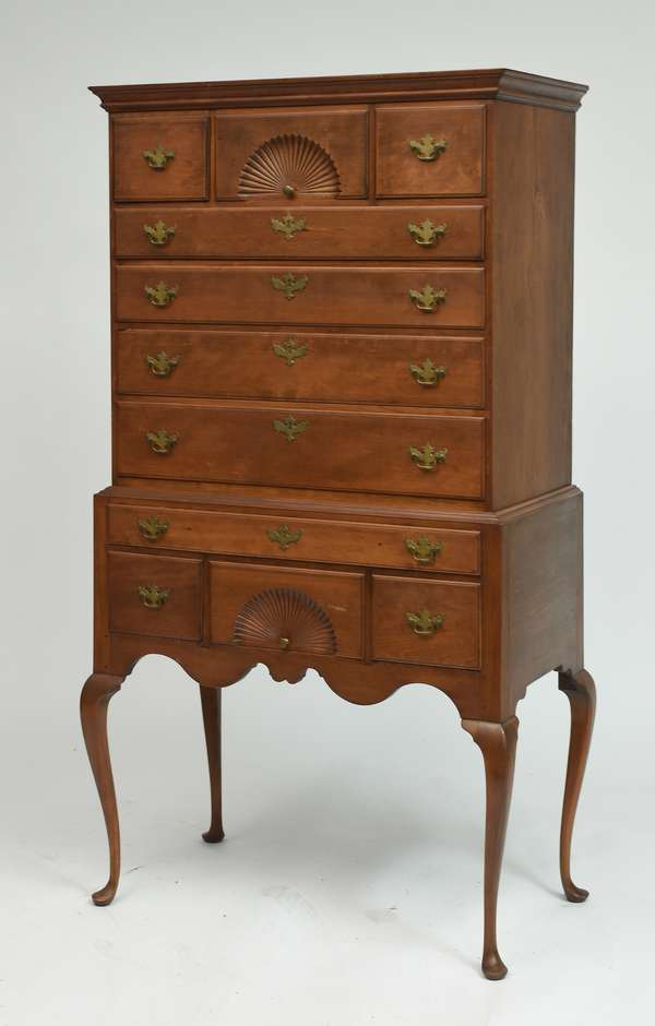 Queen Anne maple two-part highboy from the Pike family of Pike N.H., ca.1770, 5'11