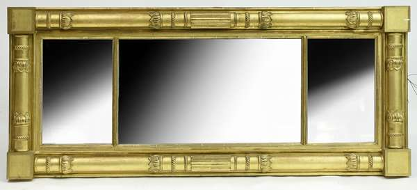Good Federal gilt three section over mantle mirror with carved columns and original gilt surface, 24