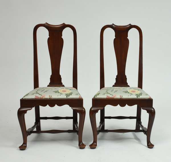 Pair of Queen Anne mahogany Boston side chairs, slip seats, ca.1760