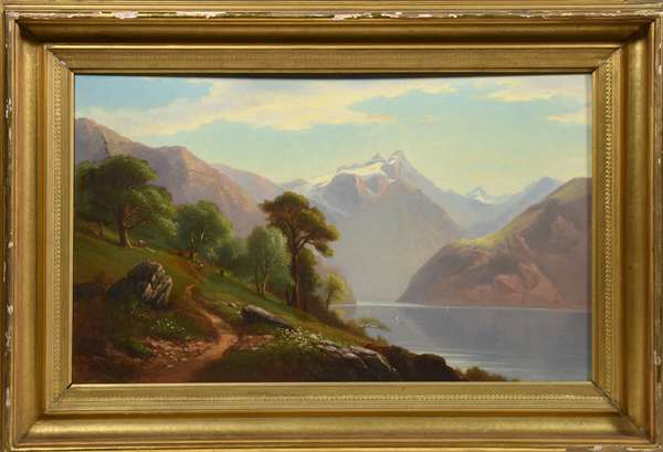 Oil painting, river and mountain landscape signed B. Champney, 18