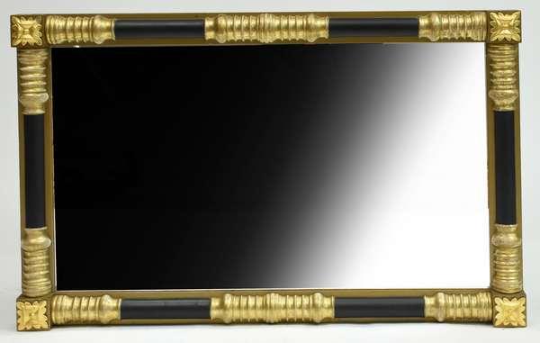 Good Federal gilt and ebonized wall mirror ca.1830, very clean, 28