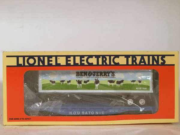 Lionel NETCA 5211 Ben & Jerry's Flatcar with trailer, OB