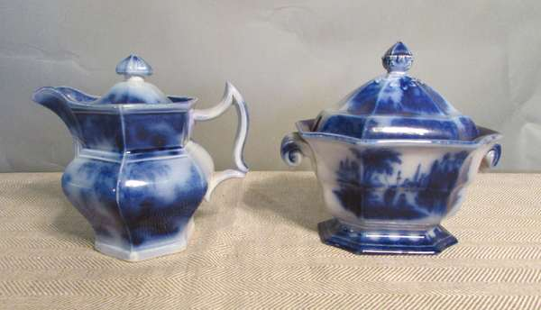 "Flow Blue pitcher with lid Scinde pattern 6""H., along with Flow Blue small tureen with maker's mark, 7"" (75-13)"