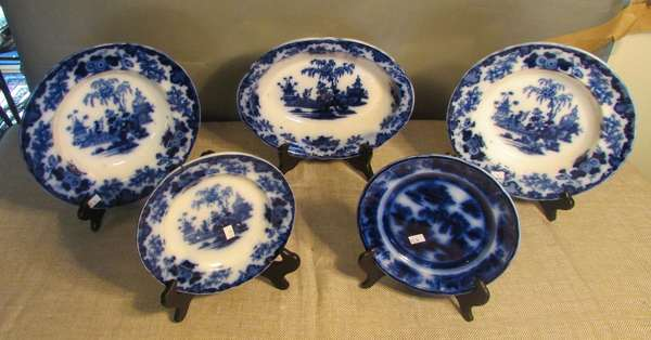 "Five piece Flow Blue lot including two plates: Scinde and Evans and Hill Concord 8""Dia.; serving bowl Scinde 11½""L; and two Scinde soups,10""Dia. (75-14)"