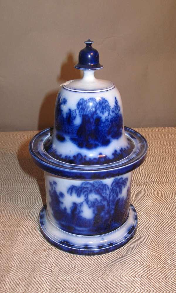 """Flow Blue covered jar, 10""""H. (75-36)"""