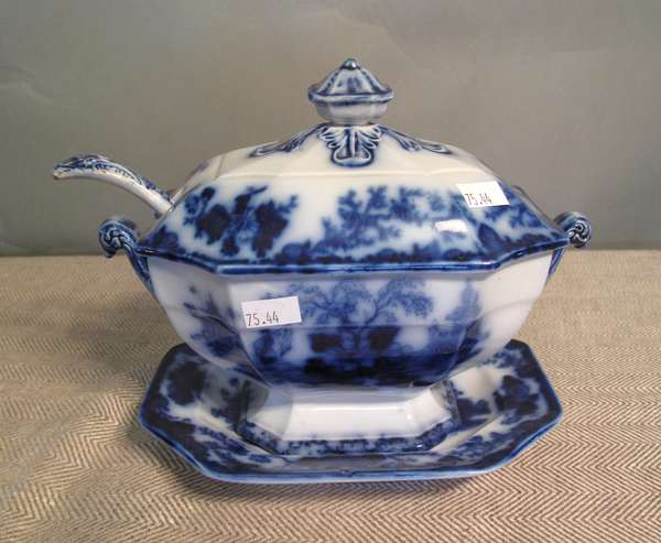 "Flow Blue covered tureen with ladle and under-plate, Scinde, 8""L. (75-44)"