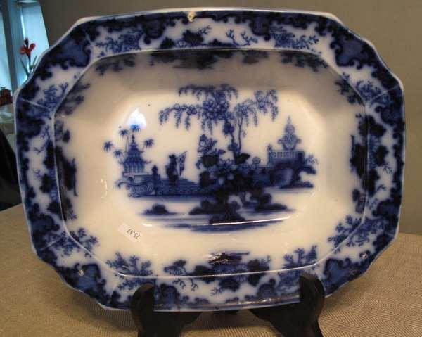 """Flow Blue Scinde serving dish. 12""""L. (75-47)"""