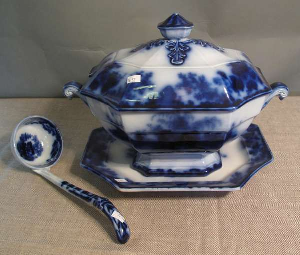 "Flow Blue Scinde soup tureen with ladle and underplate, 13""L. (75-52)"