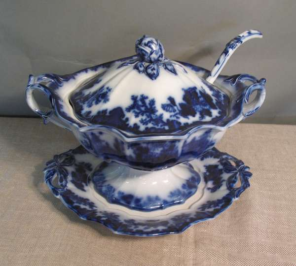 "Flow Blue Scinde soup tureen with ladle and underplate, 15""L. (75-56)"