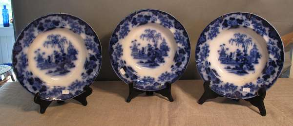 "Three Flow Blue Scinde soup dishes,10""Dia. (75-70)"