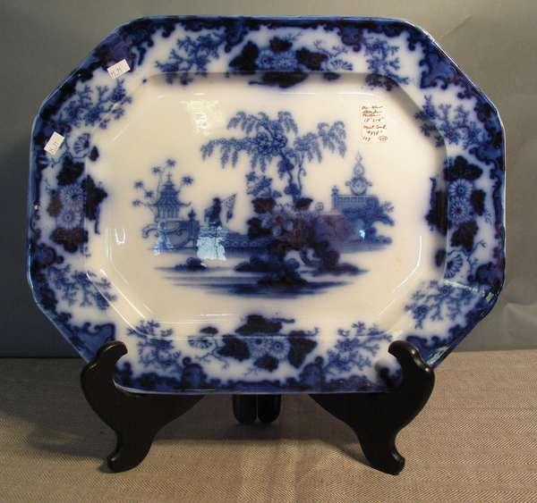 """Flow Blue Scinde platter, 18""""L. (75-71)"""