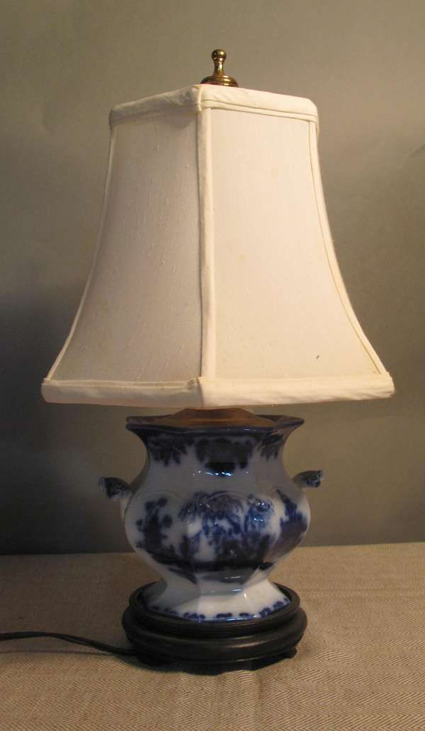 "Flow Blue covered sugar bowl converted to a table lamp, 16""H. (75-77)"