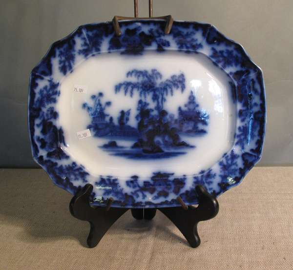 """Small Flow Blue Scinde platter, 13½""""L. (75-109)"""