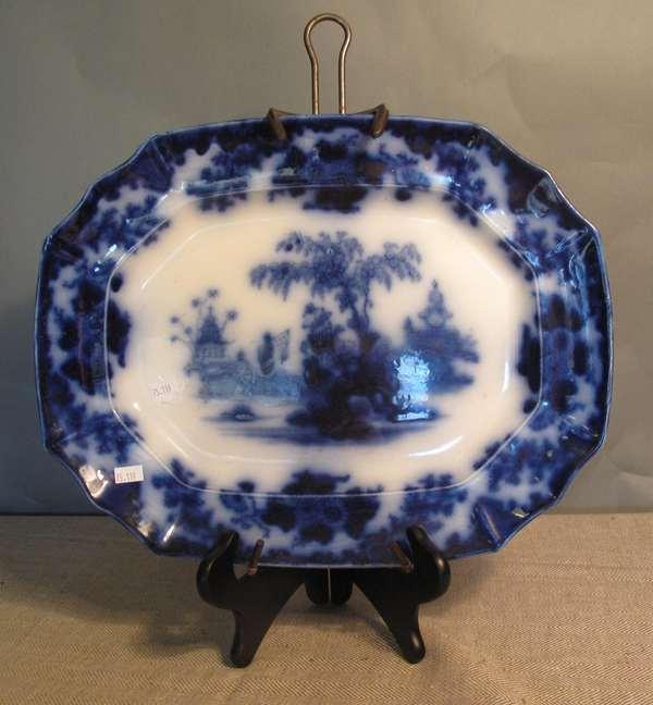 """Flow Blue Scinde platter, 16""""L. (75-119)"""