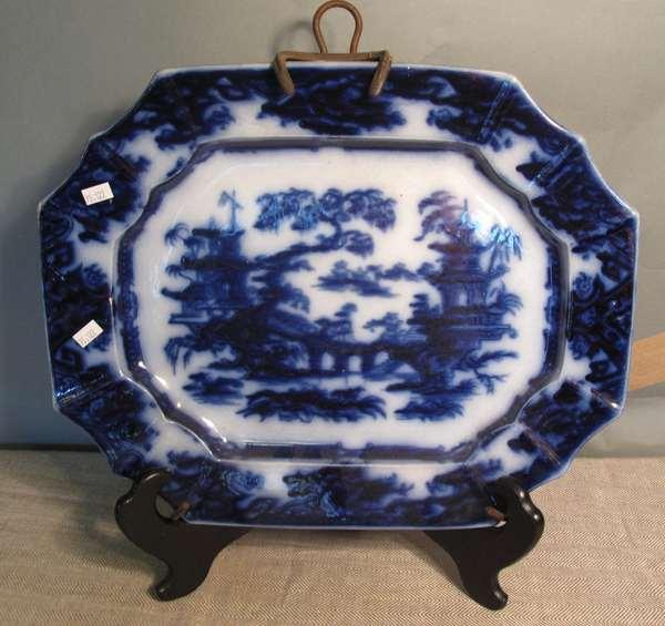"Flow Blue platter, mark illegible, 17""L. (75-122)"