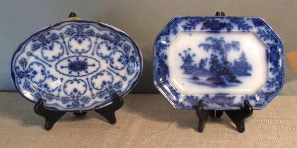 """Flow Blue Scinde platter 10""""L; one Flow Blue platter, 10½""""L. (75-125)"""