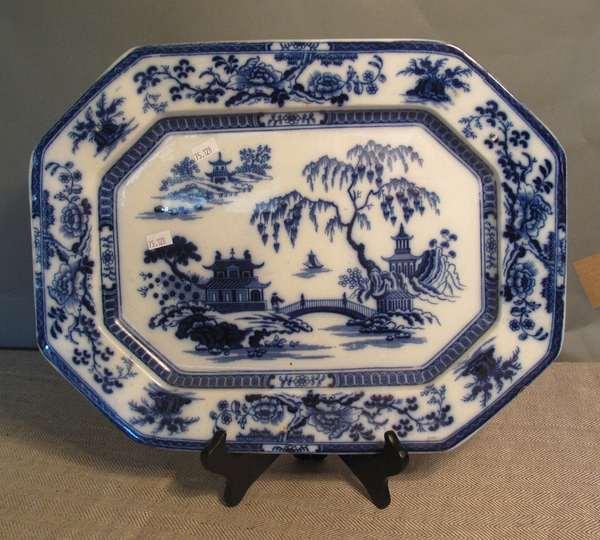 "Flow Blue platter ""Hindustan"", Oriental design, 16""L. (75-128)"