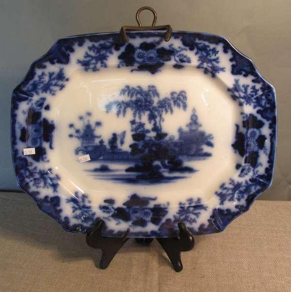"""Flow Blue Scinde platter, 18""""L. (75-131)"""