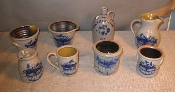 Eight pieces of reproduction stoneware, Bennington, NH. (various sizes) (75-150)