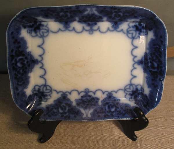 """Flow Blue unmarked platter, 15""""L. (75-159)"""