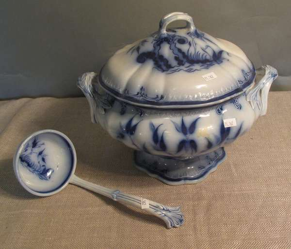 "Large Flow Blue unmarked soup tureen with ladle, 15""D. (75-162)"