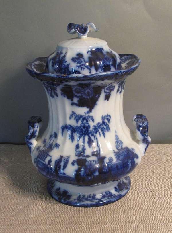 """Flow Blue Scinde slop jar with lid. 15""""H. (75-163)"""