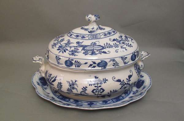 "Meissen Wedgwood covered tureen with under-plate and cover. 16""L (no ladle) (75-234)"