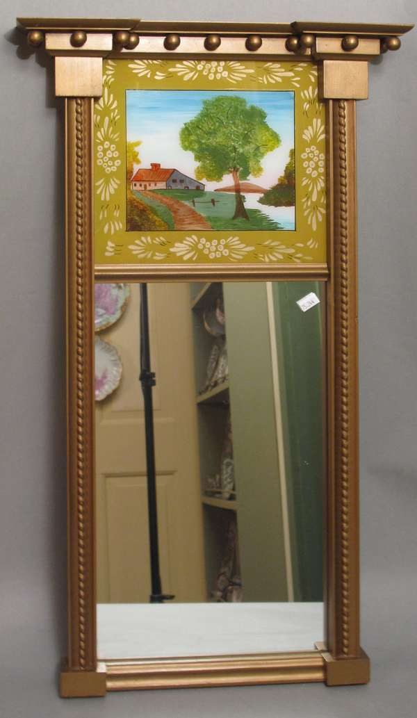 "Federal style picture mirror with reverse painted tablet. 28""H (75-244)"