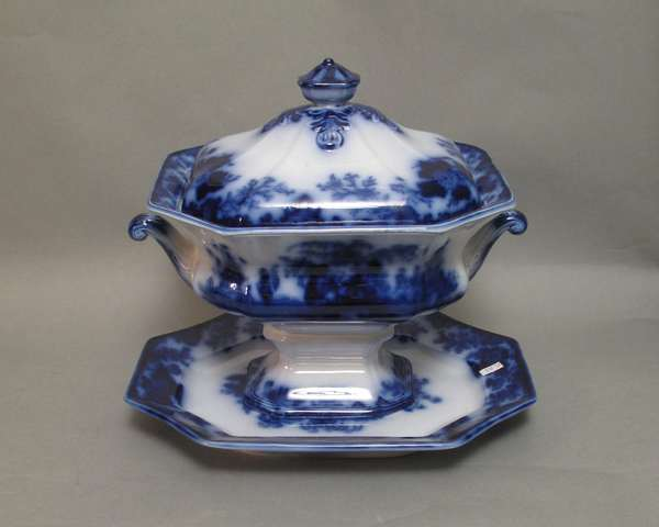 "Flow Blue Scinde covered tureen with under-plate. 13""L (75-253)"