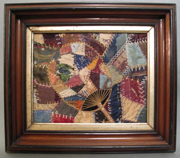 "Small crazy quilt in walnut frame. 7"" x 9 ½"" (75-268)"