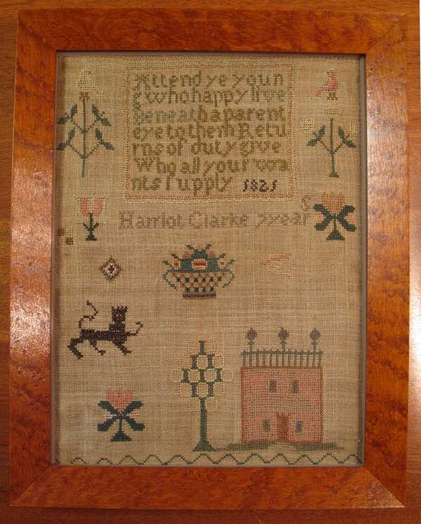 "Small hand wrought needlework sampler by Harriot Clarke 1821 in birdseye maple frame. 10"" x 8"
