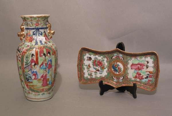 """Rose Medallion vase 10""""H, Rose Medallion shaped serving dish 9 ½""""L (75-287)"""