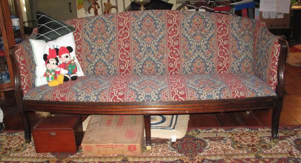 "19th century classical sofa, upholstered. 6'2""L (75-295)"