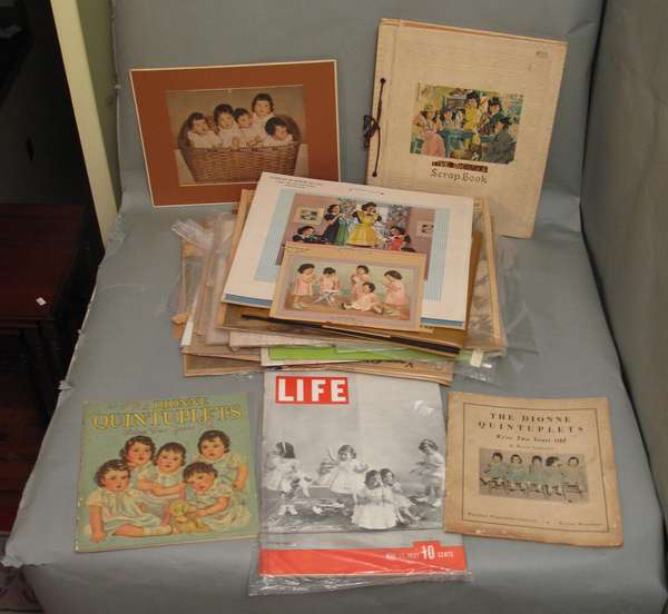 Box of memorabilia including JFK picture, Dionne Quintuplets, poster cards, etc. (75-298)