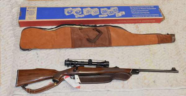 Ref 1: Winchester Model 70 XTR 30-06 (serial # G1488390) Springfield. Bolt action with scope and case in good condition.