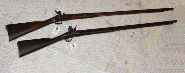 "Ref 24:Two Flintlock Antique Guns, 1 marked ""Tower"""