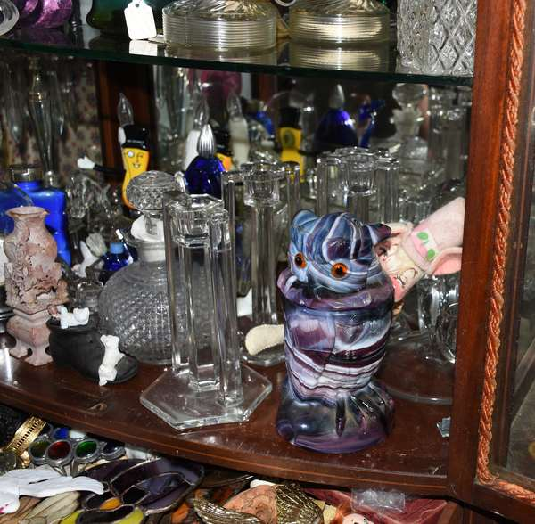 Glass accessories including signed slag owl
