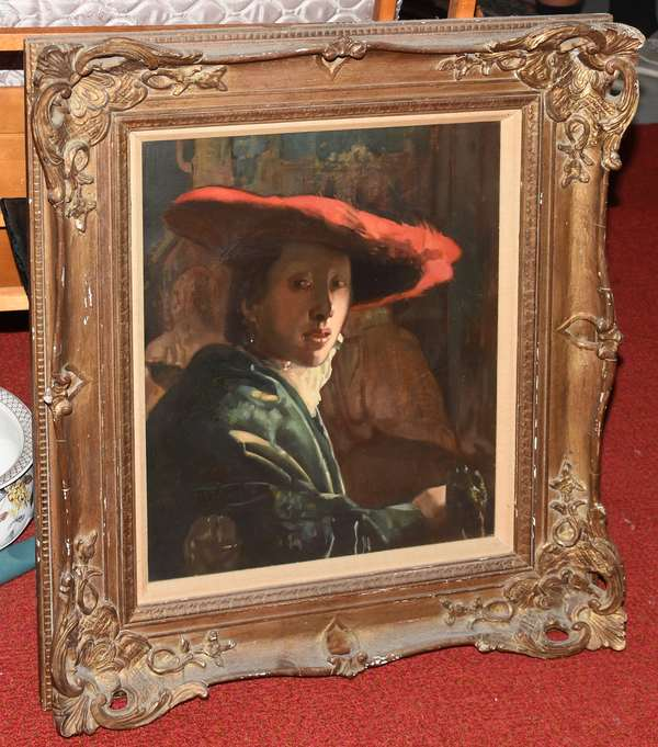 Oil of woman in red hat