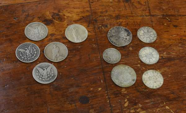 Ref 4: Five silver dollars & five assorted (762-29)