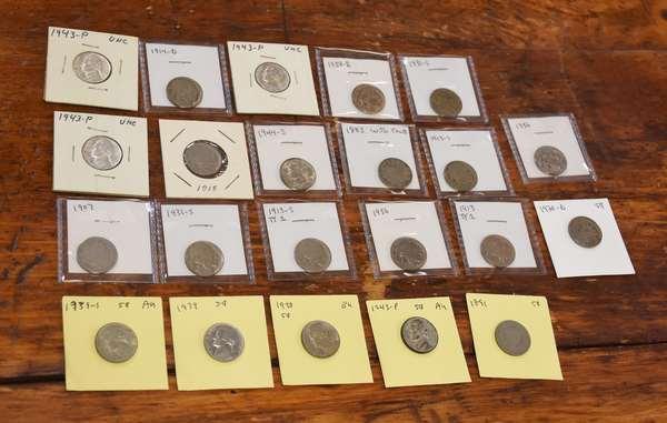 Ref 12: 22 assorted nickels (532-126)