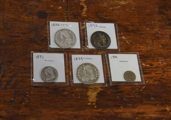Ref 13: 1881 three cent nickel, 1831 quarter & 1826, 1829 & 1892 halves (532-127)