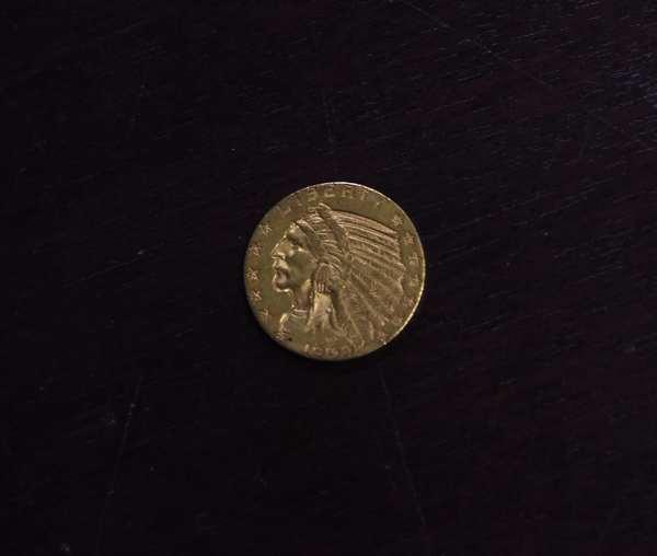 Ref 33: 1909 5 dollar gold coin (605-154)