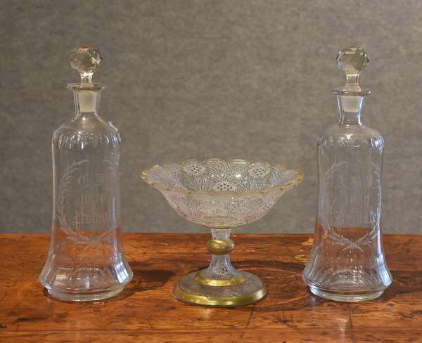 Early glass lot, two decanters and a compote (44-5)