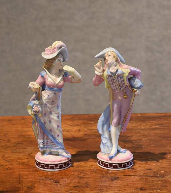 19th C. porcelain figures with Vion & Baury green anchor mark (44-9)