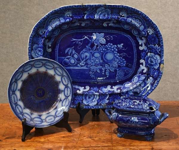 Historical blue platter, gravy tureen and a Martha Washington plate (44-10)